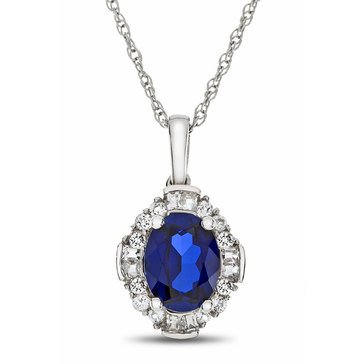 Created Sapphire & Created White Sapphire Pendant, Sterling Silver