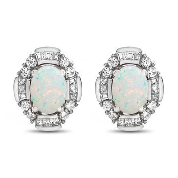 Created Opal & Created White Sapphire Earrings, Sterling Silver