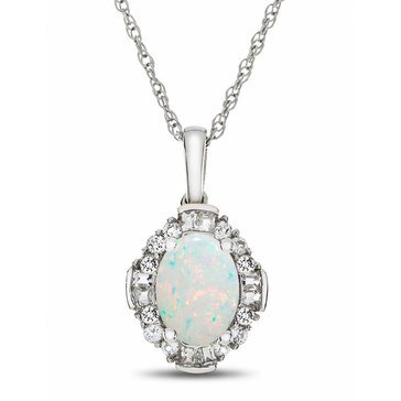 Created Opal & Created White Sapphire Pendant, Sterling Silver