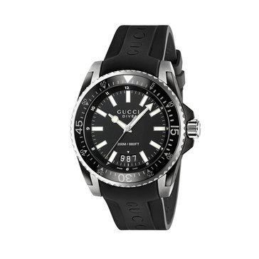 Gucci Men's Black Rubber Strap Dive Watch, 45mm