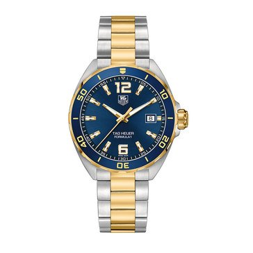 Tag Heuer Men's Formula 1 Blue Sunray/18K Gold Plated and Fine Brushed Stainless Steel Watch, 41mm