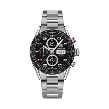 Tag Heuer Men's Carrera Calibre 16 Black Ceramic/Polished Stainless Steel Automatic Chronograph Watch, 43mm