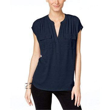 I.N.C. International Concepts Women's Half Placket Extended Cap Top in Deep Twilight