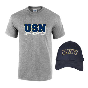 Fire For Effect Men's USN Hat and Short Sleeve Tee Combo
