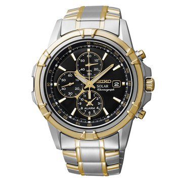 Seiko Men's Solar Chronograph Two Tone Stainless Steel Bracelet Watch 42.5mm