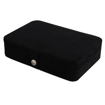 Mele & Co. Maria Plush Fabric Jewelry Box with Twenty-Four Sections in Black