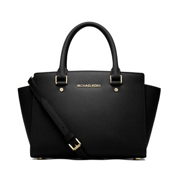 Michael Kors Selma Medium Top Zip Satchel Saffiano Black