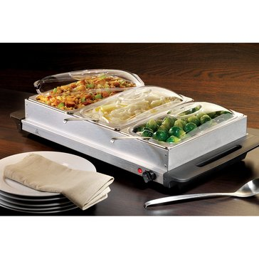 Nostalgia Electrics 3-Station Buffet Server & Warming Tray - 2.5Qt Pans (BCD992)