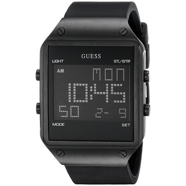 Guess Men's Radar Digital Black Silicon Strap Watch