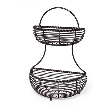 Gourmet Basics by Mikasa 2-Tier Flat-Back Basket