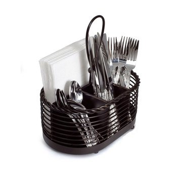 Gourmet Basics by Mikasa Napkin & Flatware Caddy, Black