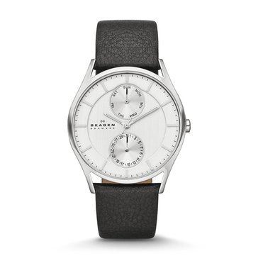 Skagen Men's Holst Multi Function Leather Strap Watch 40mm