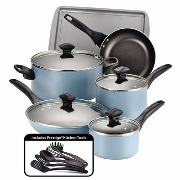 Farberware 15-Piece Dishwasher Safe Cookware Set, Aqua