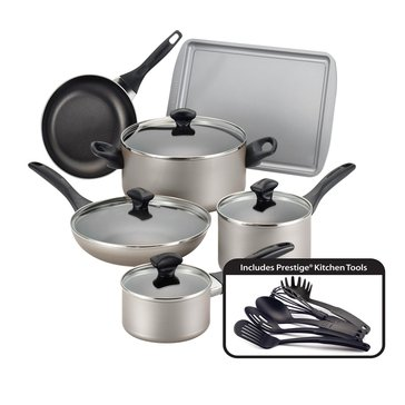 Farberware 15-Piece Dishwasher Safe Cookware Set, Champagne