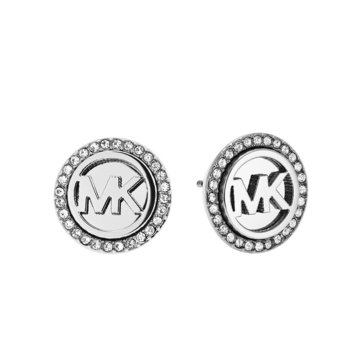 Michael Kors Silver Tone Heart Mk Pave Stud Earrings