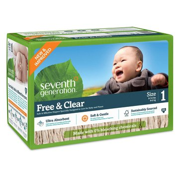 Seventh Generation Free & Clear Baby Diapers - Size 1, 80-Count