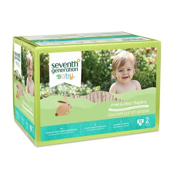 Seventh Generation Free & Clear Baby Diapers - Size 2, 72-Count