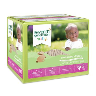 Seventh Generation Free & Clear Baby Diapers - Size 3, 62-Count