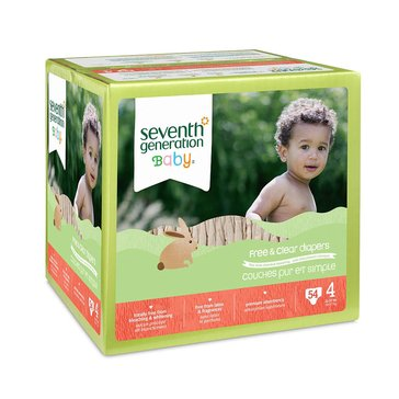 Seventh Generation Free & Clear Baby Diapers - Size 4, 54-Count