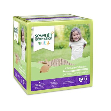 Seventh Generation Free & Clear Baby Diapers - Size 6, 40-Count
