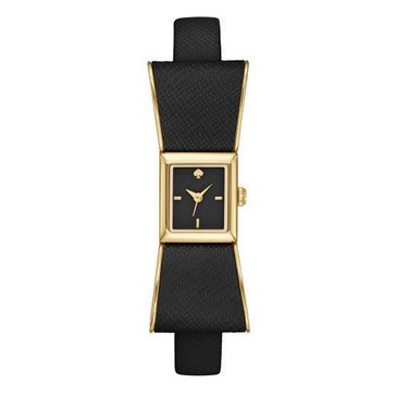 Kate Spade Women's Kenmare Gold Tone Black Leather Strap Watch 16mm