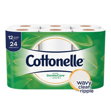 Cottonelle Bath Tissue Gentle Care W/ Aloe, 12 Double Rolls