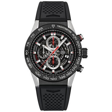 Tag Heuer Men's Carrera Calibre Heuer 01 Automatic Chronograph Watch CAR2A1Z.FT6044, Black Caramic/ Black Polymer 45mm