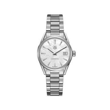 Tag Heuer Women's Carrera Mother of Pearl/Fine Brushed and Polished Stainless Steel Watch, 32mm