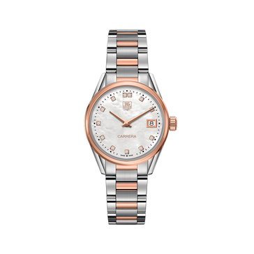 Tag Heuer Women's Carrera .1 Cttw Diamond Watch WAR1352.BD0779, White Mother of Pearl/ 18K Rose Gold and Fine Brushed Steel 32mm