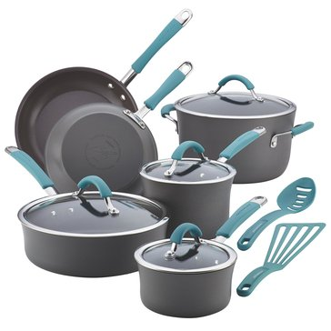 Rachael Ray Cucina 12-Piece Hard Anodized Cookware Set, Blue Handles