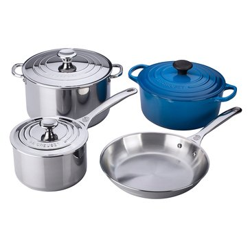 Le Creuset 7-Piece Stainless Steel & Enameled Cast Iron Cookware Set, Marseille Blue