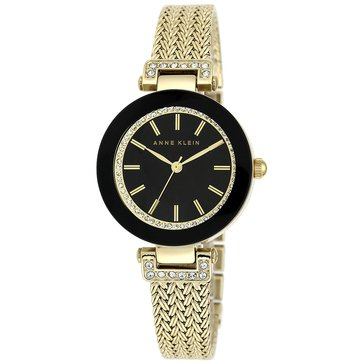 Anne Klein Women's Crystal Black Dial Gold Mesh Bracelet Watch