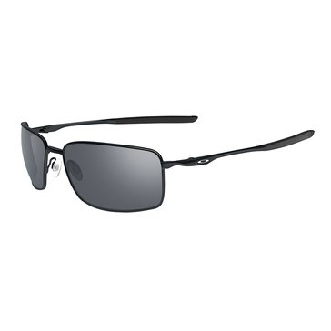 Oakley Men's Square Wire Sunglasses OO4075-01, Polished Black/ Black Iridium 60mm