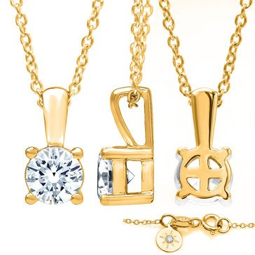 Navy Star 14K Yellow Gold 3/8 cttw Solitaire Pendant