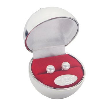 Special Purchase Sterling Silver Fresh Water Pearl Stud Earrings With Box