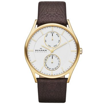 Skagen Men's Leather Strap Watch 40mm