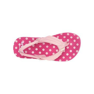 Reef Little Ahi Girls' Thong Sandal Pink Polka Dot