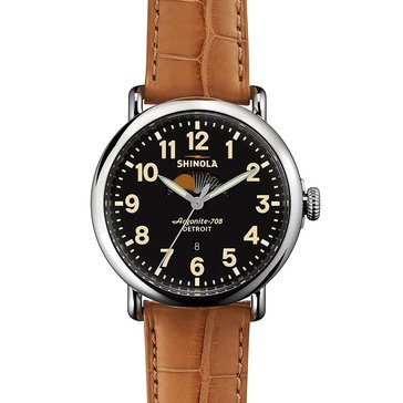 Shinola Men's Runwell Moon Phase Leather Strap Watch 41mm