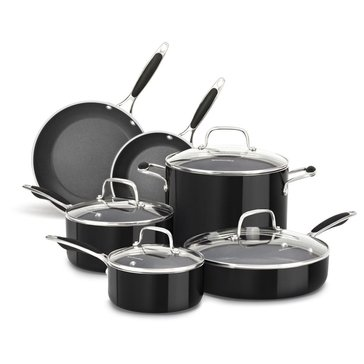 KitchenAid Aluminum 10-Piece Cookware Set, Onyx Black