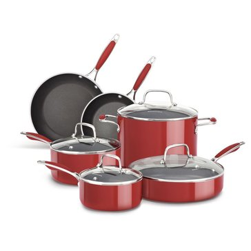KitchenAid Aluminum 10-Piece Cookware Set, Empire Red
