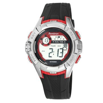 Armitron Men's Sport Gray Case Red Aeccented Black Strap Watch 48mm