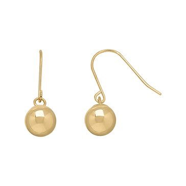 18K 6mm Ball Dangle Earrings
