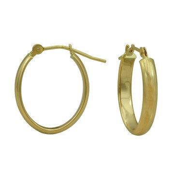 18K Oval Hoop Earrings