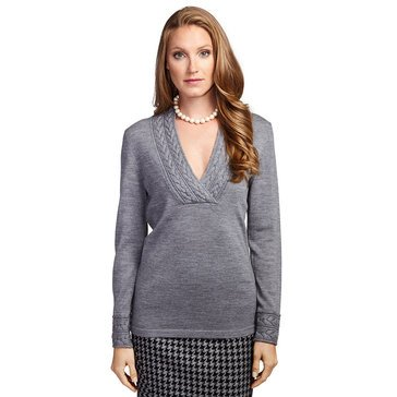 Brooks Brothers Women's  Merino Cabled Crossover V-Neck Pullover in Grey