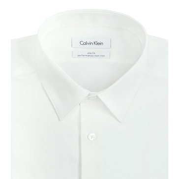 Calvin Klein Men's Steel Slim Fit Non-Iron Dobby Solid Dress Shirt-White