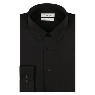 Calvin Klein Men's Steel Slim Fit Non-Iron Dobby Solid Dress Shirt-Black