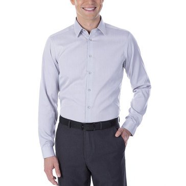 Calvin Klein Men's Steel Slim Fit Non-Iron Dobby Solid Dress Shirt-Smoke