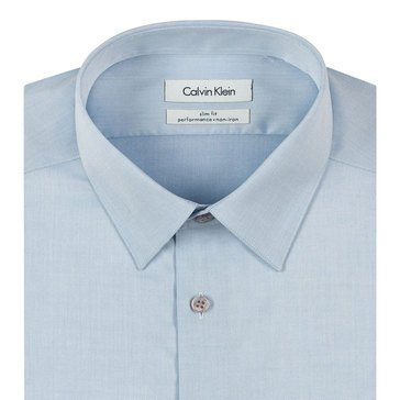 Calvin Klein Men's Steel Slim Fit Non-Iron Dobby Solid Dress Shirt- Blue