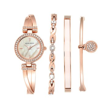 Anne Klein Women's Rose Gold Tone 4-Piece Bracelet Watch Box Set, 24mm
