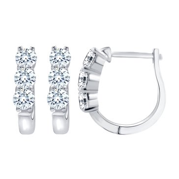 Navy Star 1 Cttw 6-Stone Earrings, 14K White Gold